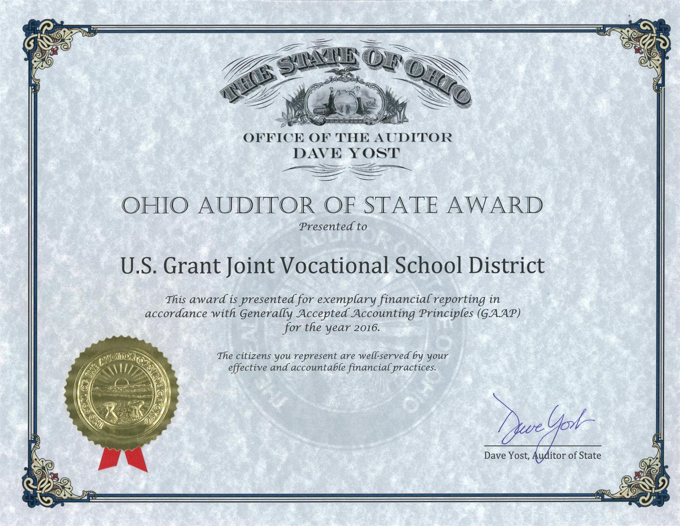 An image of the Ohio Auditor of State Award presented to U.S. Grant Joint Vocational School District.