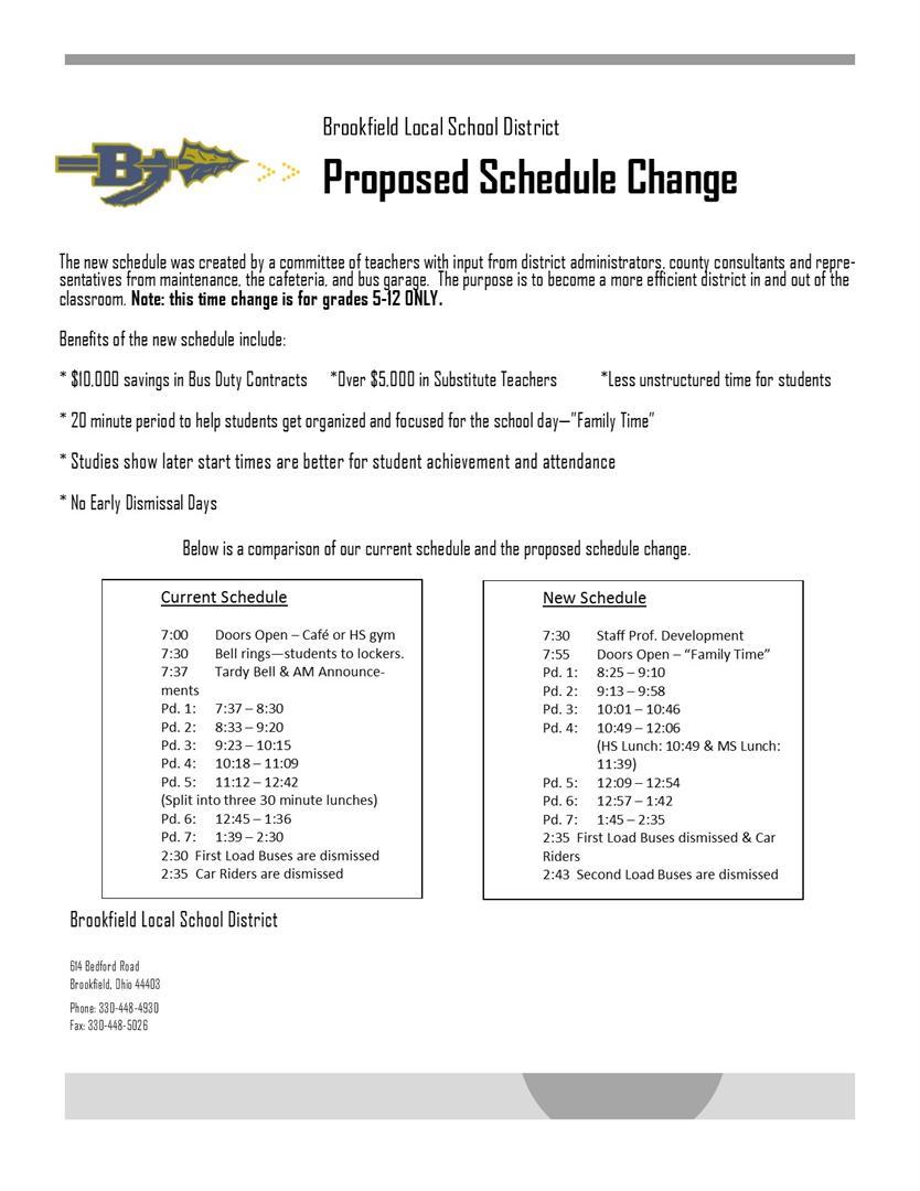 BLSD Schedule Change 2017-2018