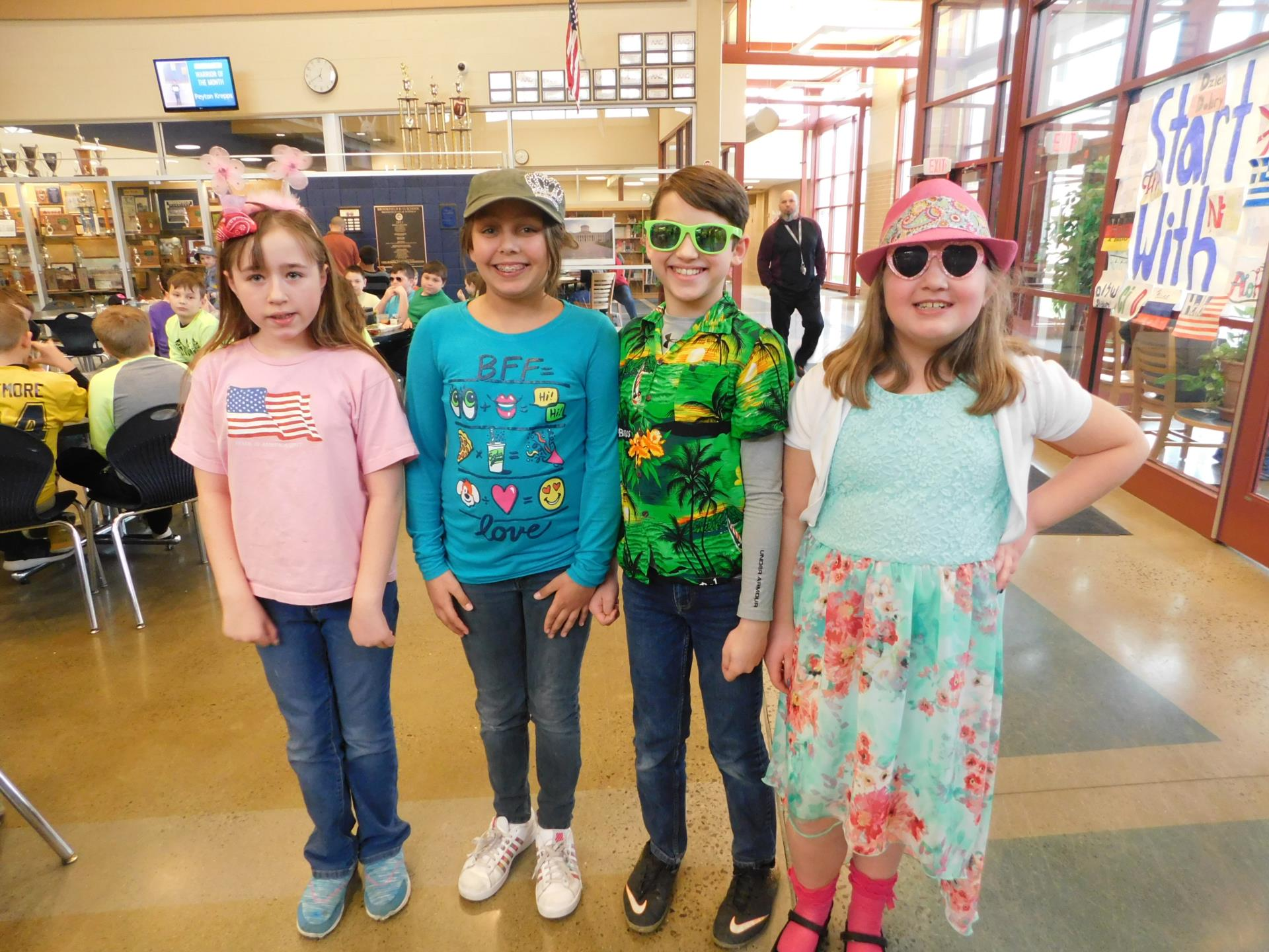 students in summer wear