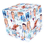 An image-link to the Patient Care Program Page, the image depicts a cube which contains images of various doctors and nurses.