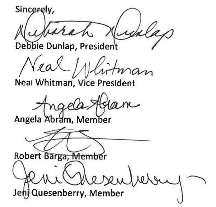Board of Education Signatures