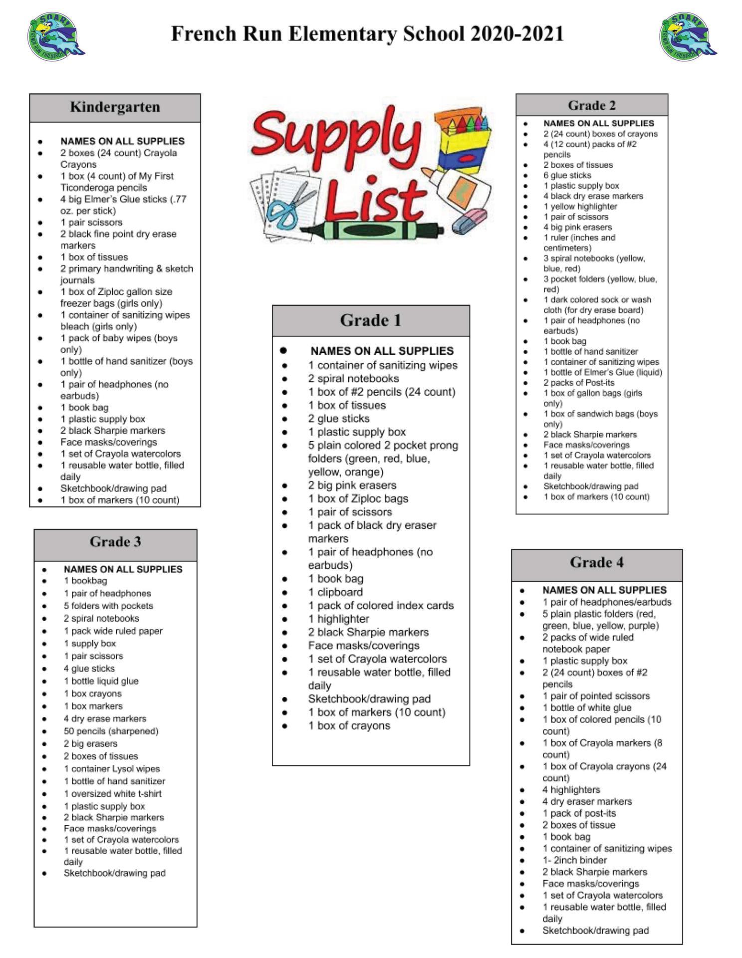 FRES School Supply List
