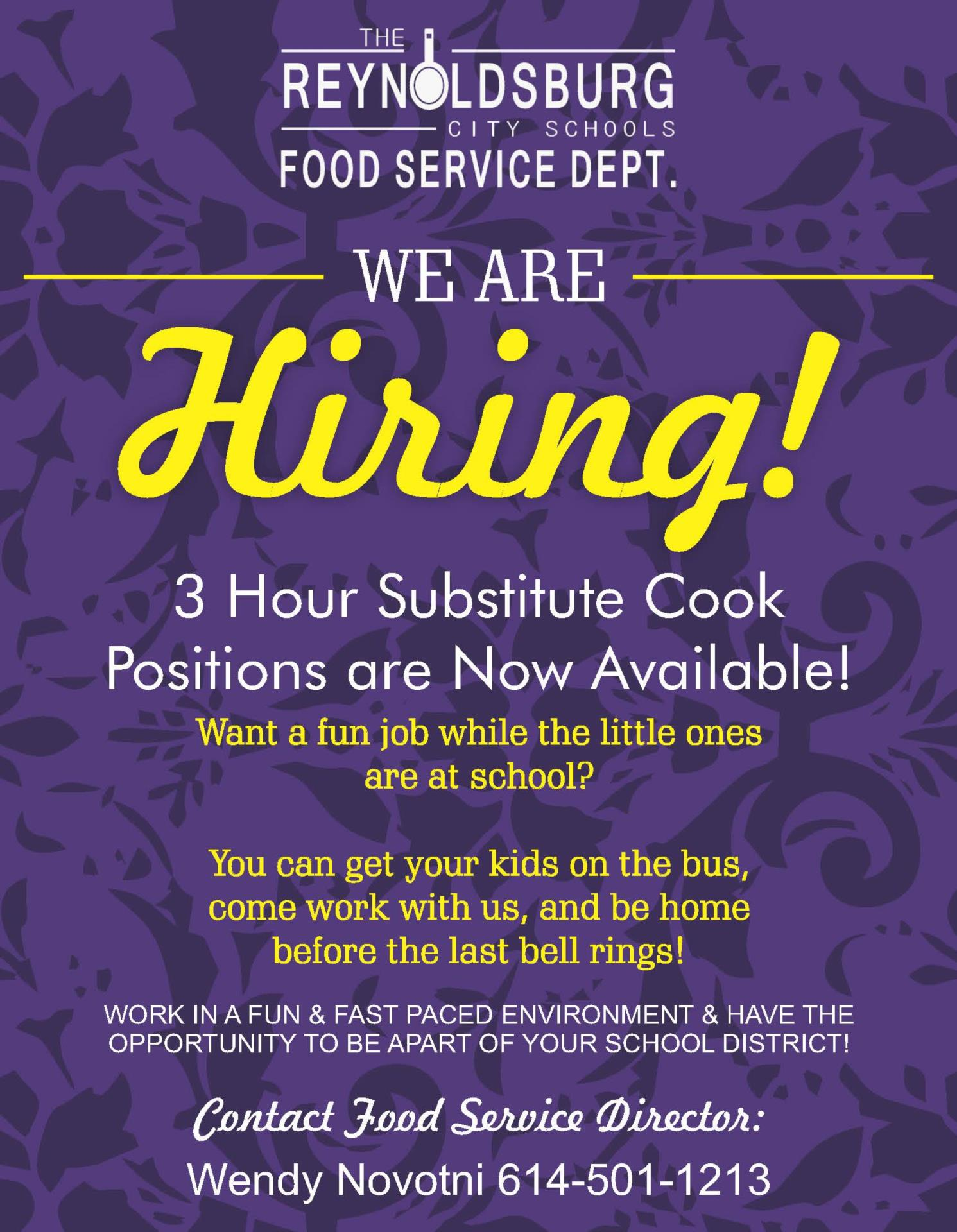 Job Posting for Sub Cooks