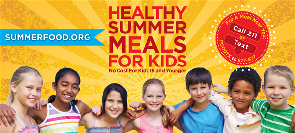 image for SummerFood.org - Healthy Summer Meals for Kids - No Cost for Kids 18 and Younger - For a Meal Near You, Call 211 or Text FOODTX to 877-877
