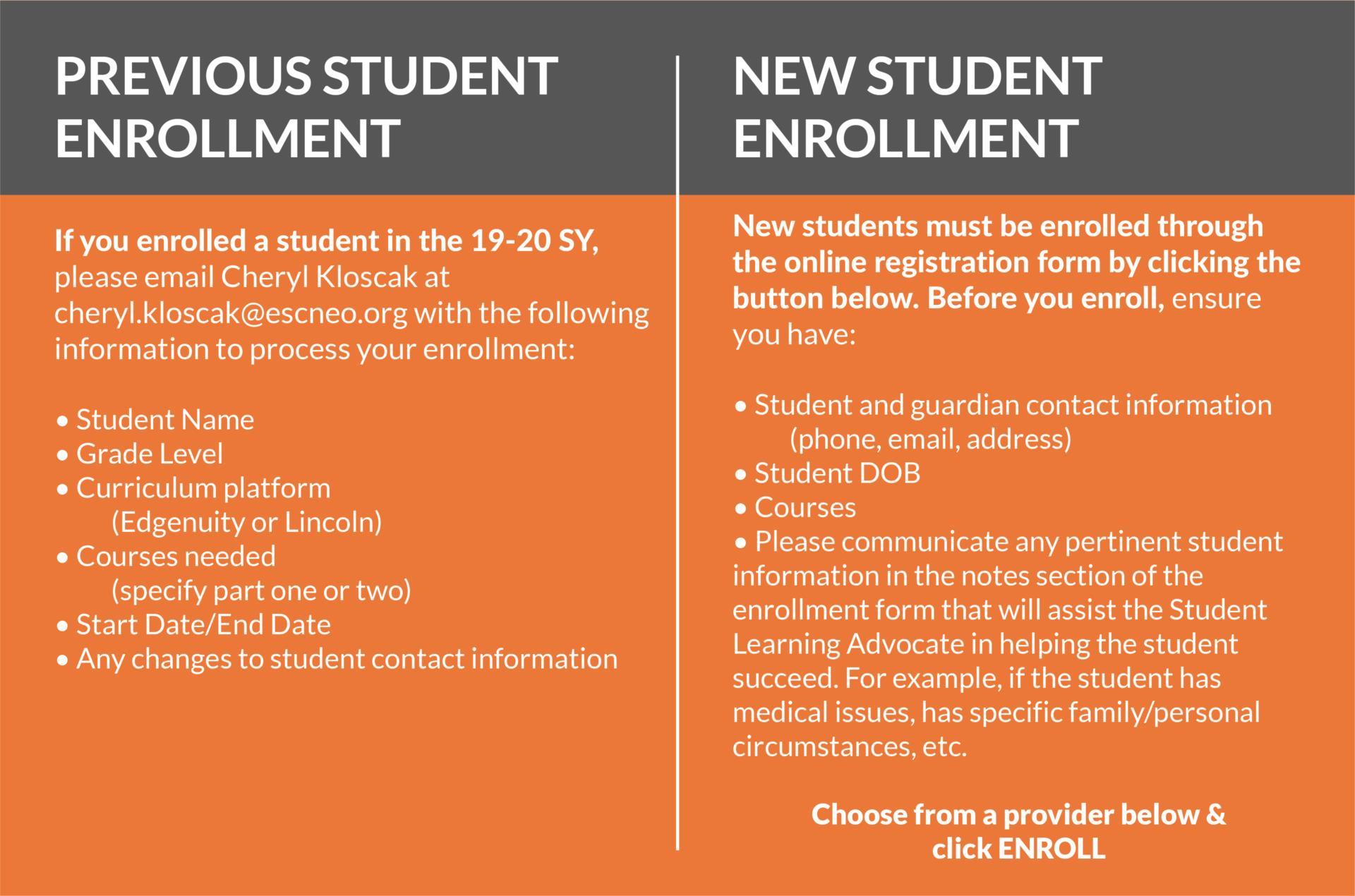 Student Enrollment information