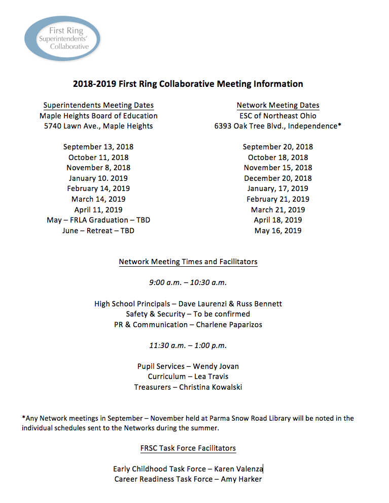 Meeting dates for First Ring