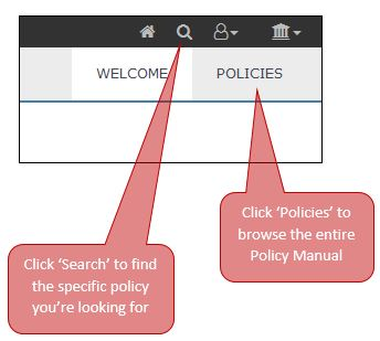 Graphic image showing link locations for the Board Policy Manual