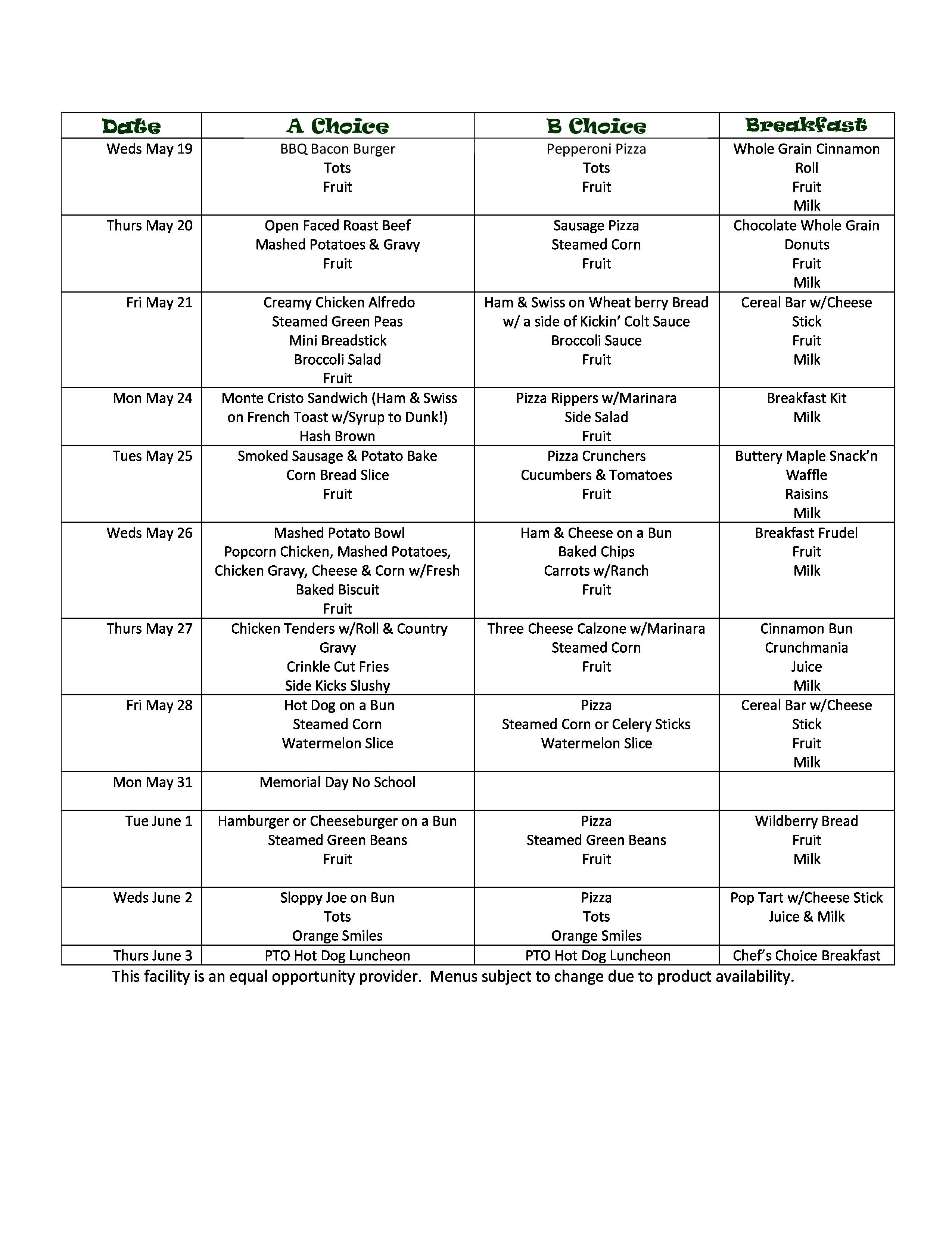 May middle school menu