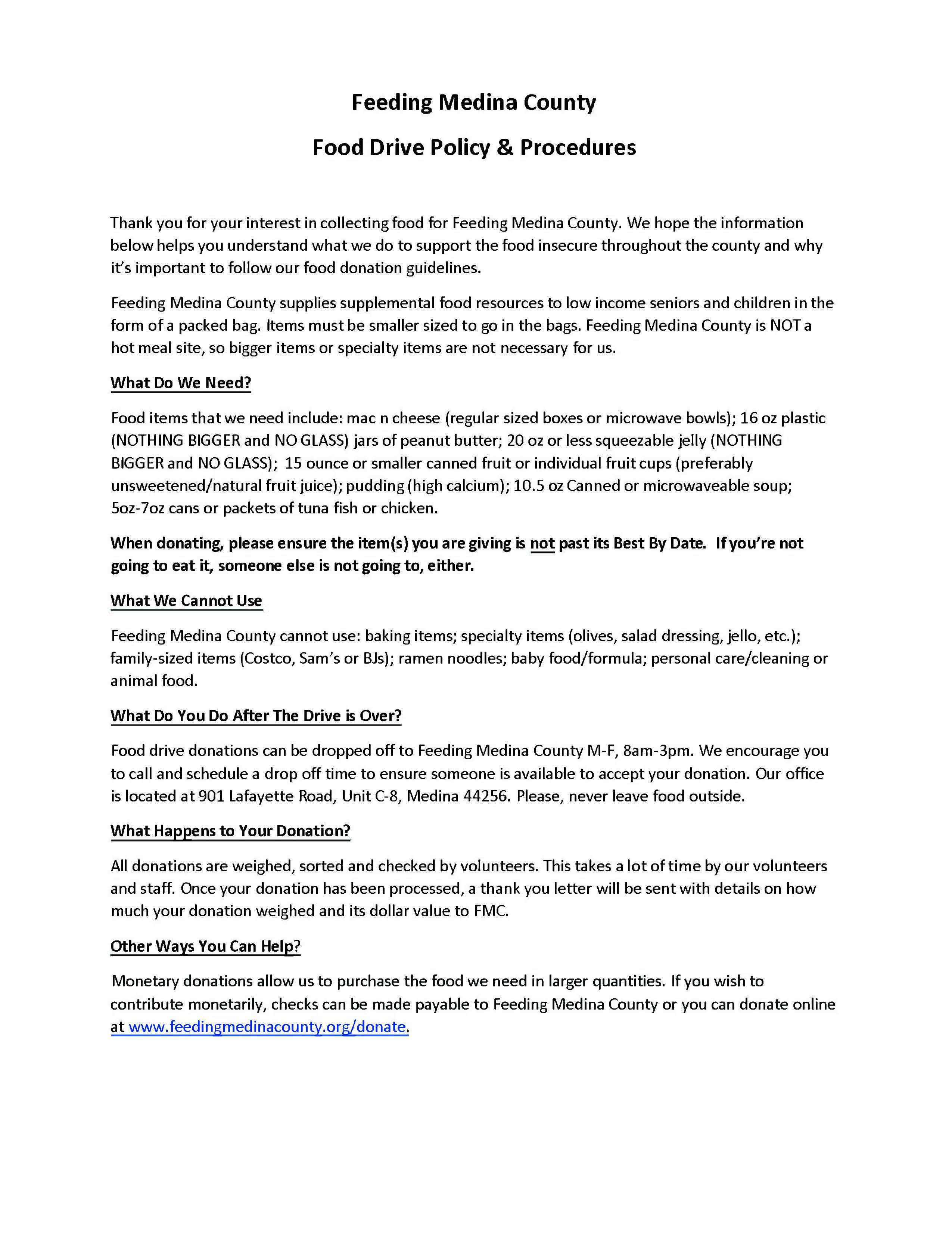 Feeding Medina County food donation guidelines