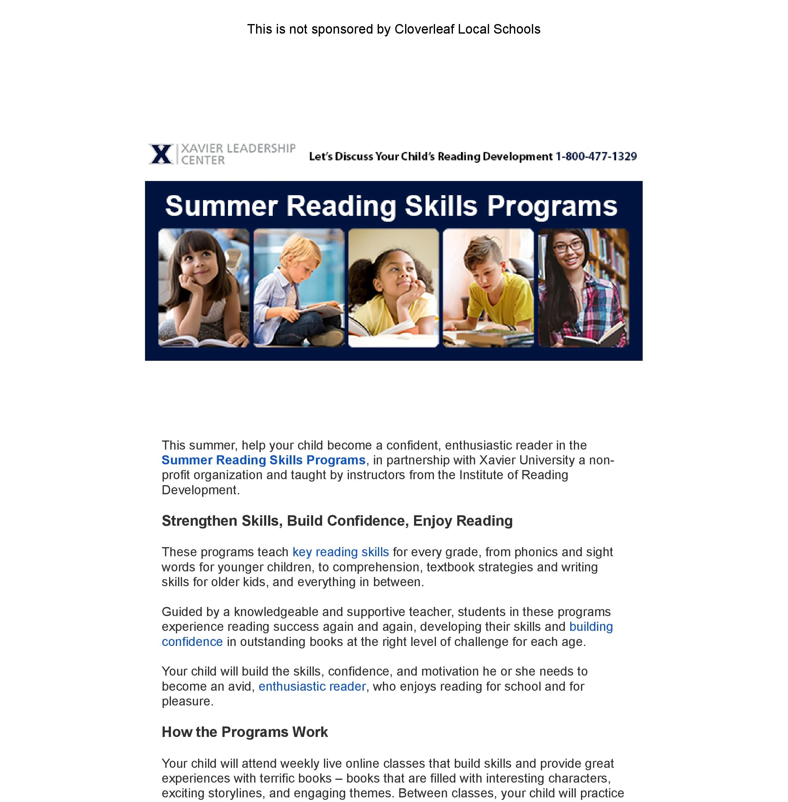 Summer Reading Skills Programs
