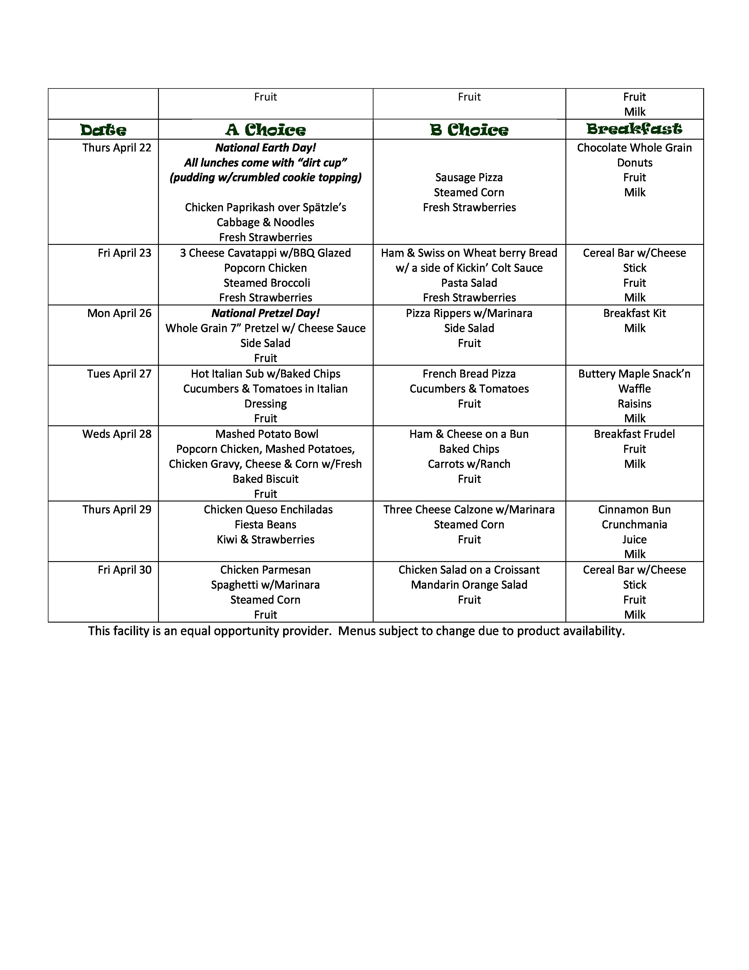 April high school menu