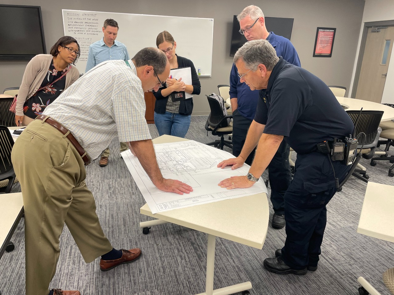 Looking at construction plans with the Westfield Fire Department