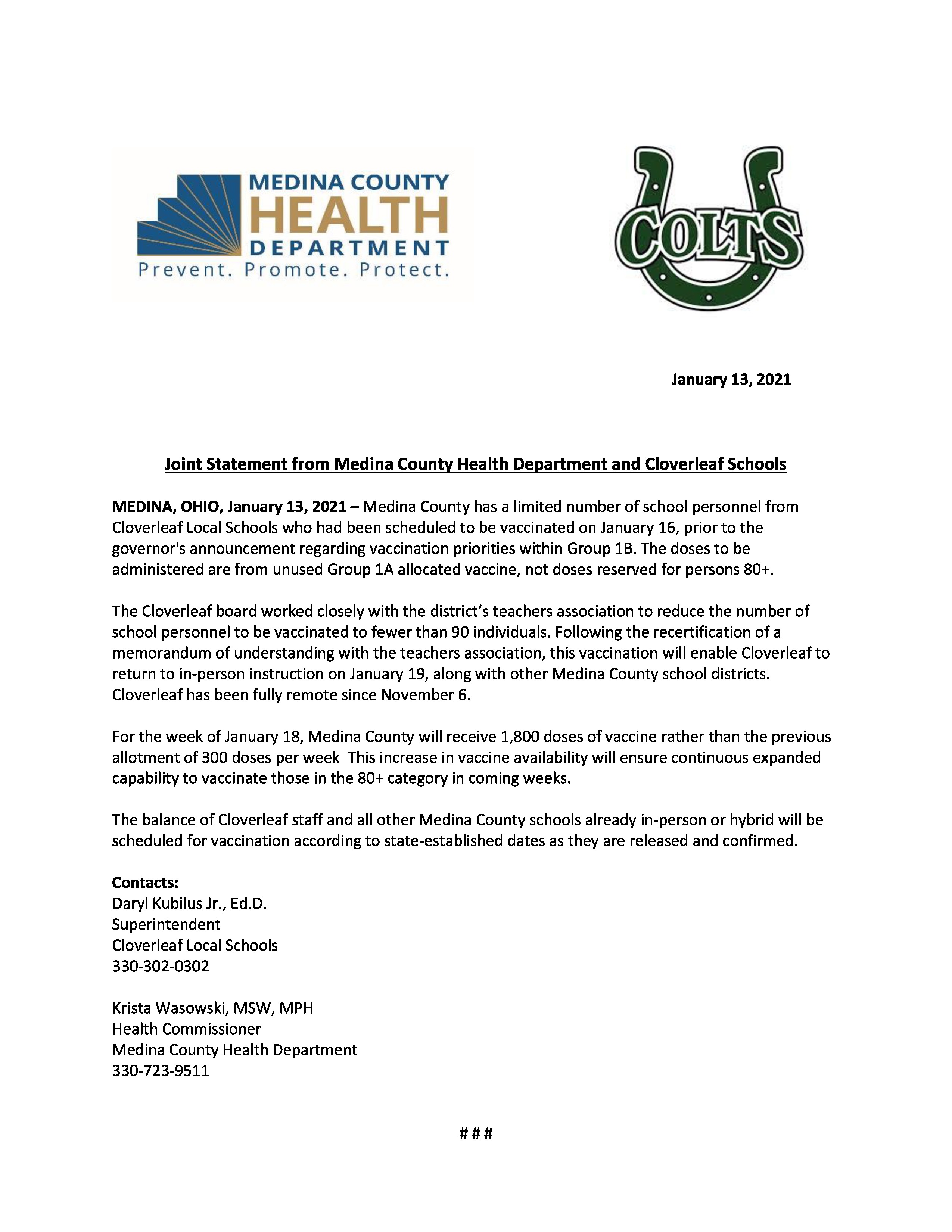 Joint news release from Medina County Health Department and Cloverleaf Local Schools