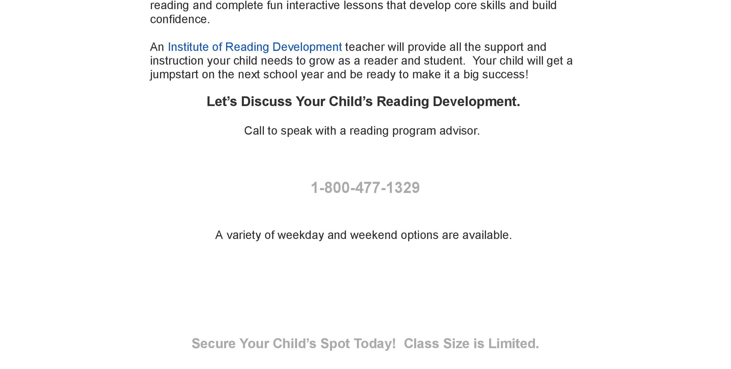 Summer Reading Skills Program