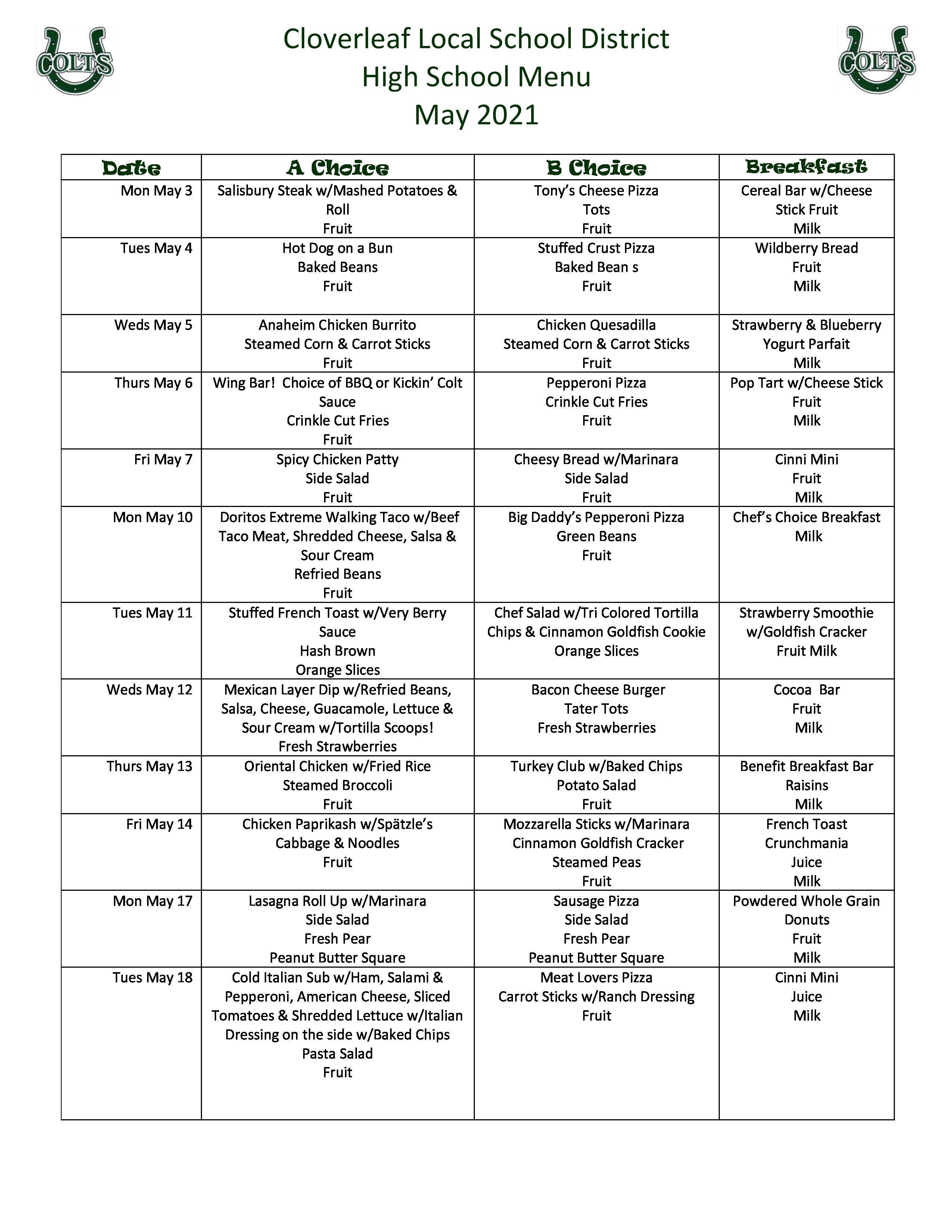 May high school menu