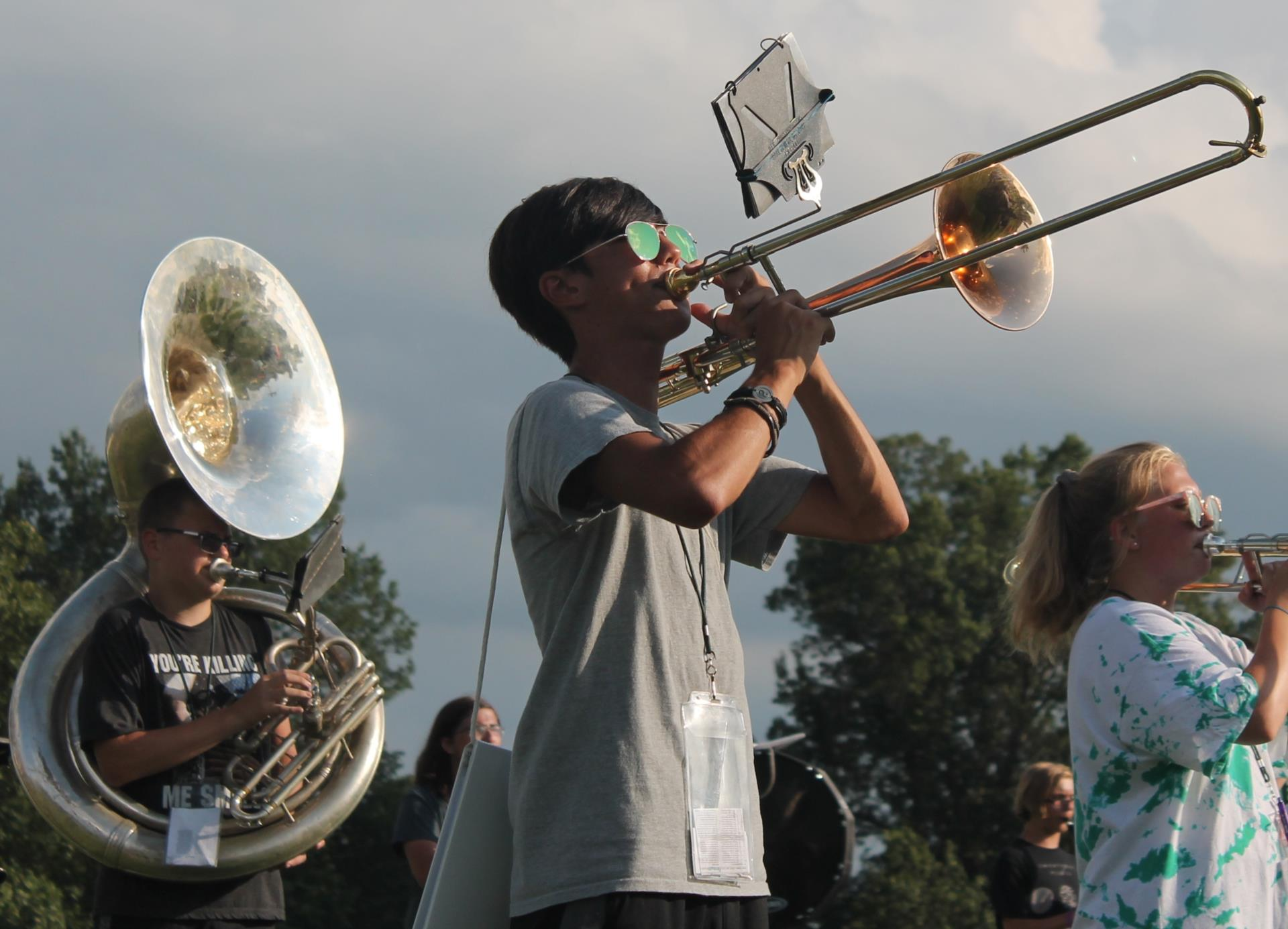 Sophomore trombone player Ray Farnham