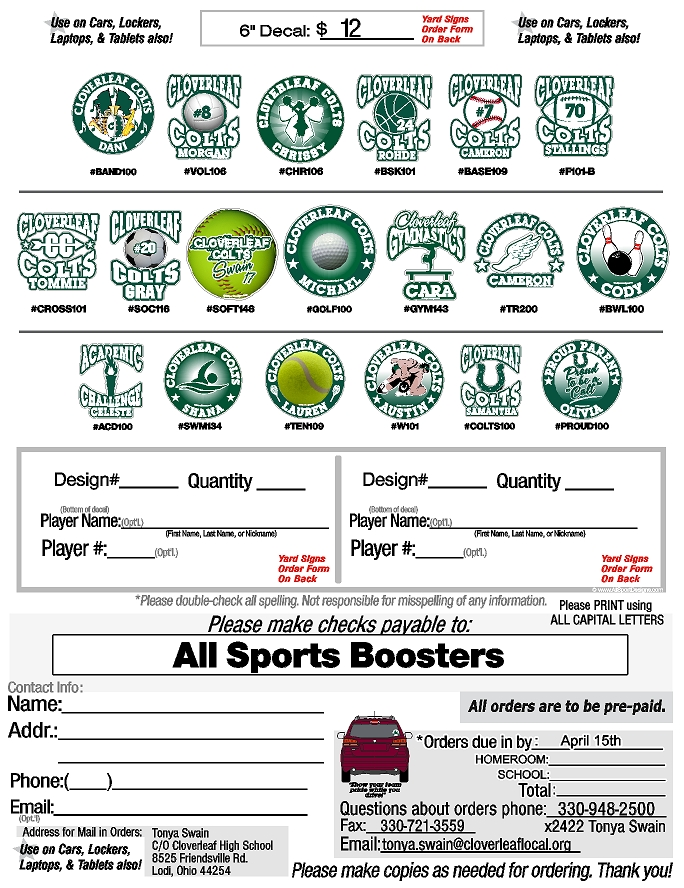 School spirit decal flyer
