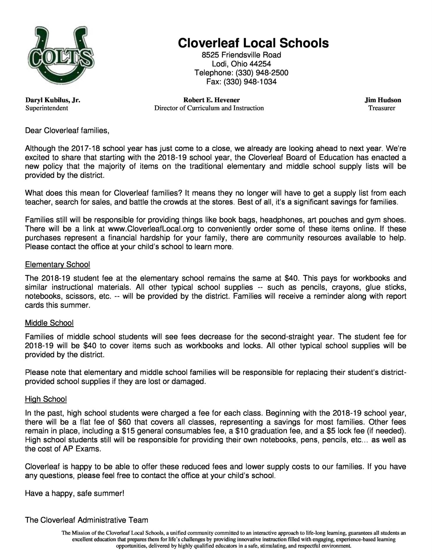 District Supply Letter June 2018
