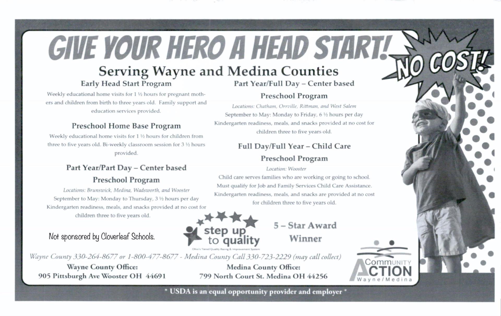 Informational flyer for Wayne-Medina Head Start program