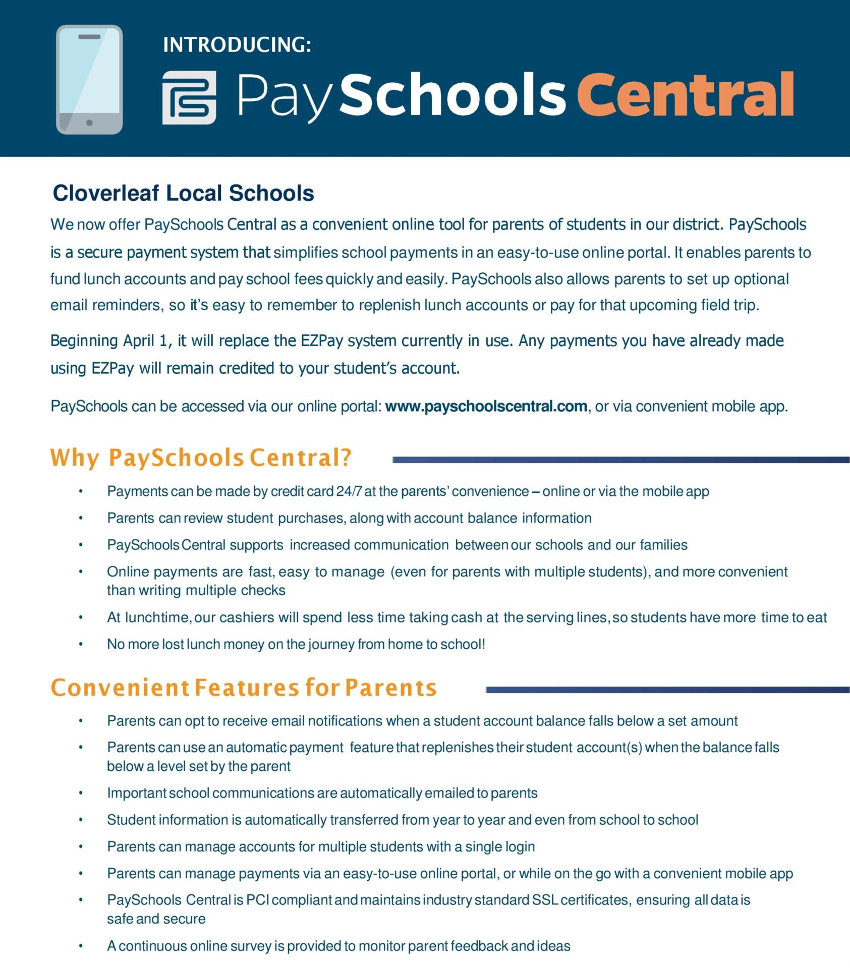 PaySchools Central Information