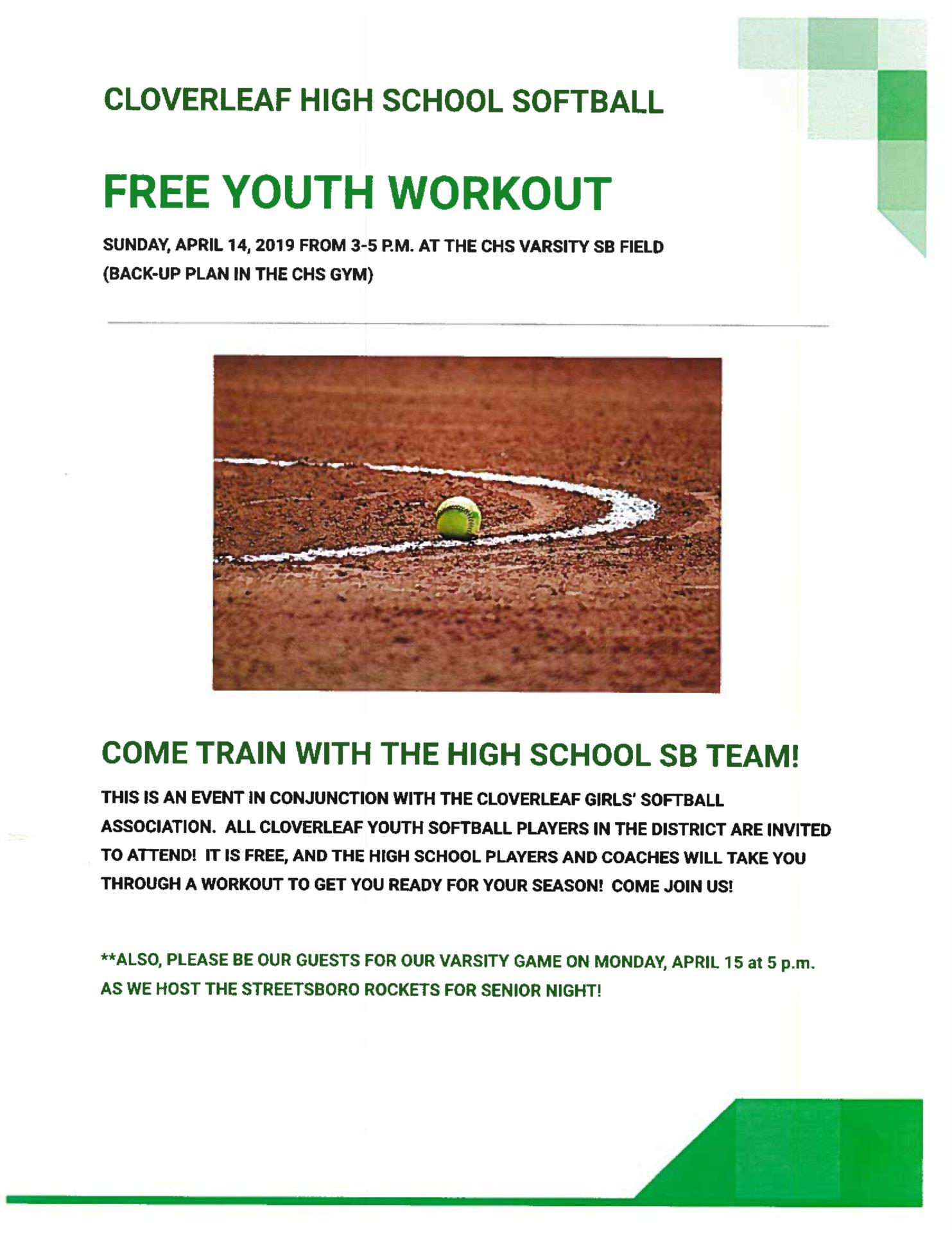 Youth softball workout flyer
