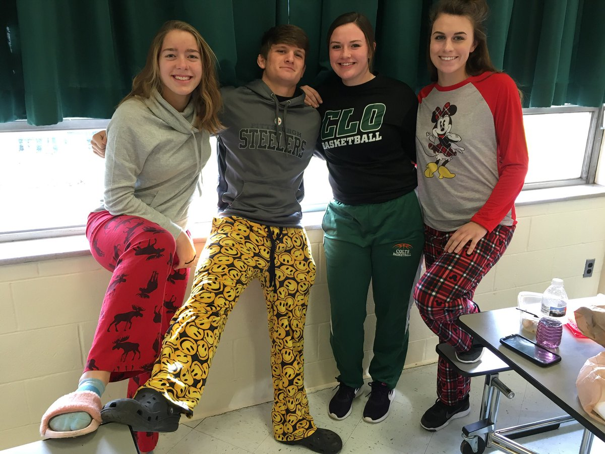 Students in their pajamas and comfy clothes during the Cozy & Caring drive