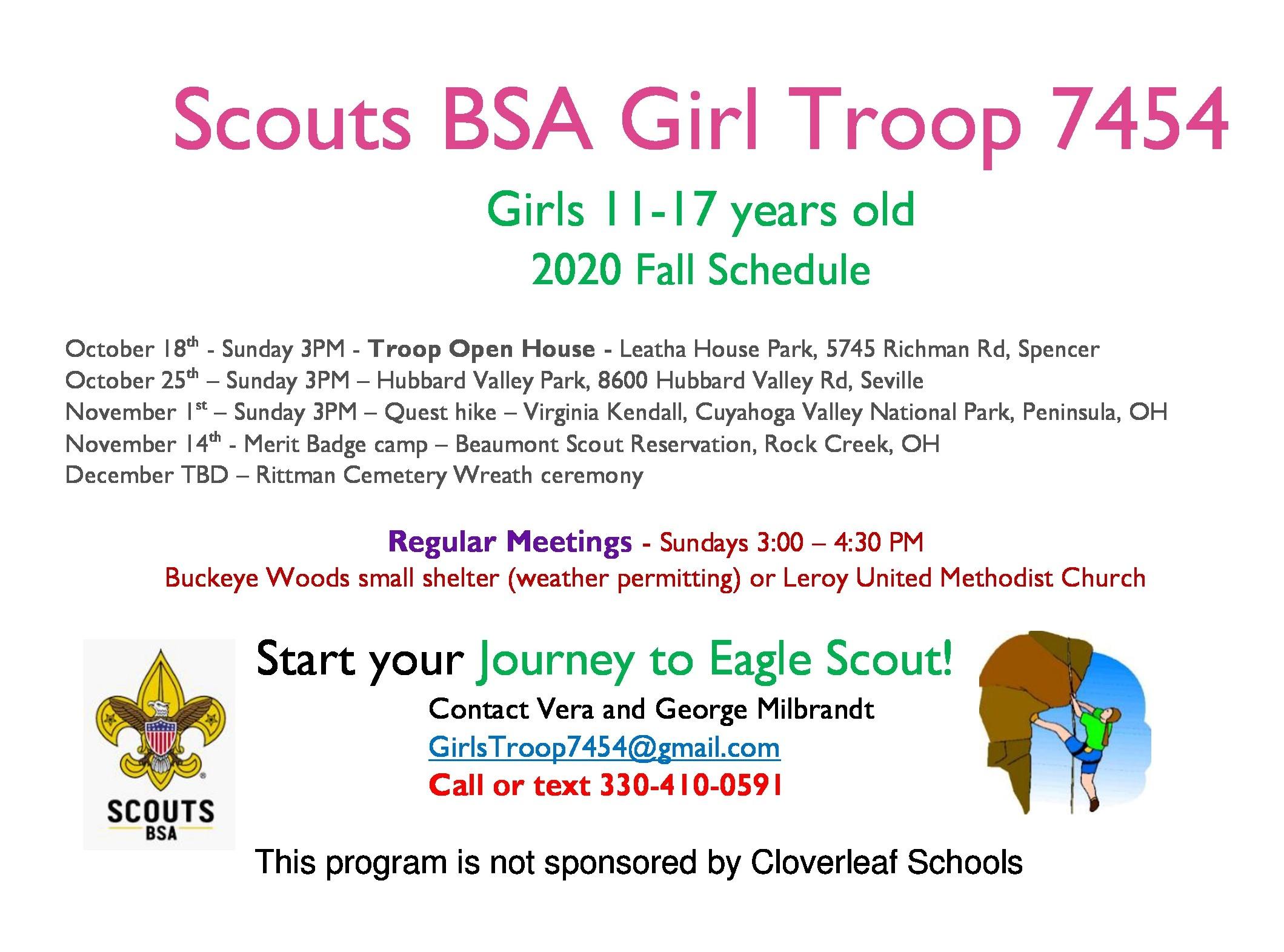 Scouts BSA Girl Troop 7454