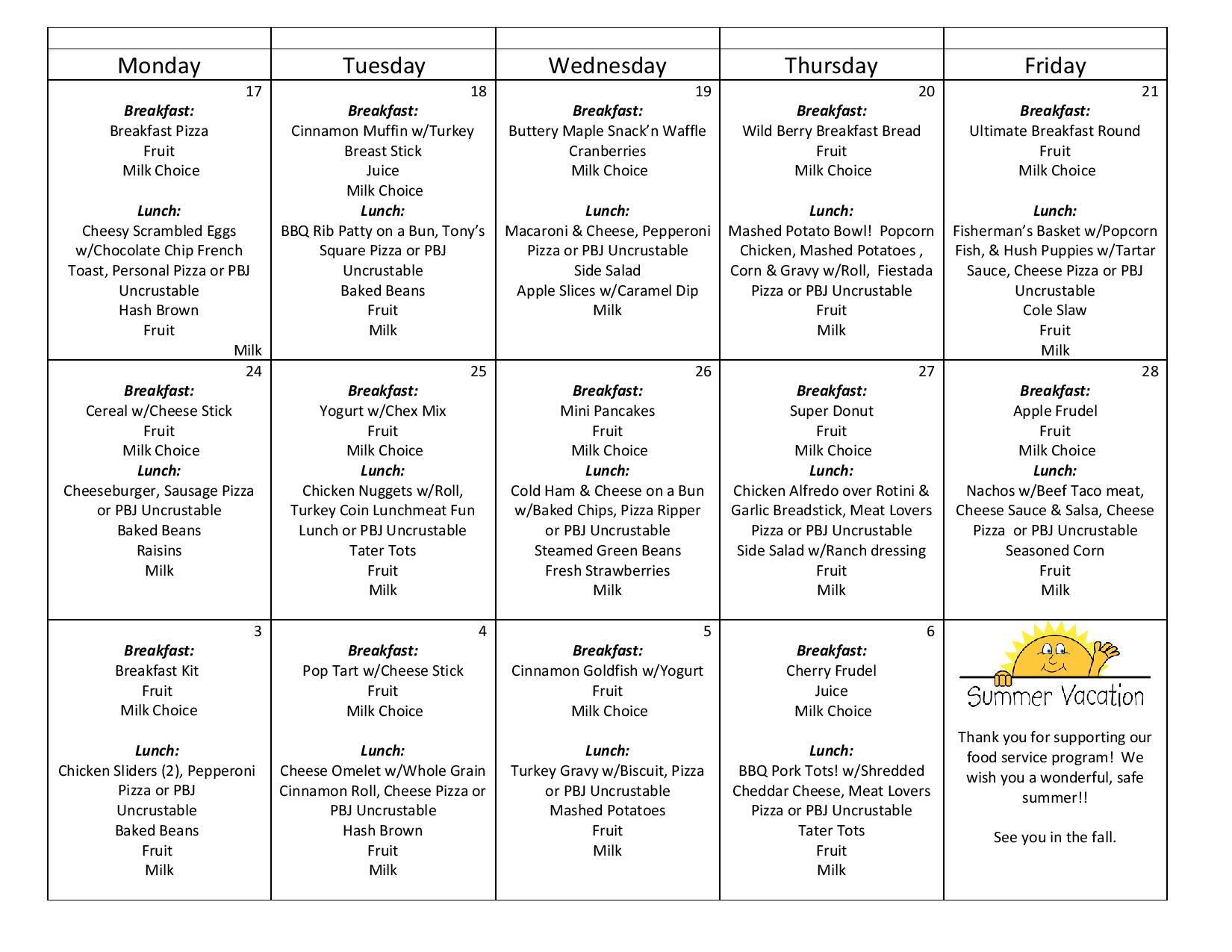 May elementary menu