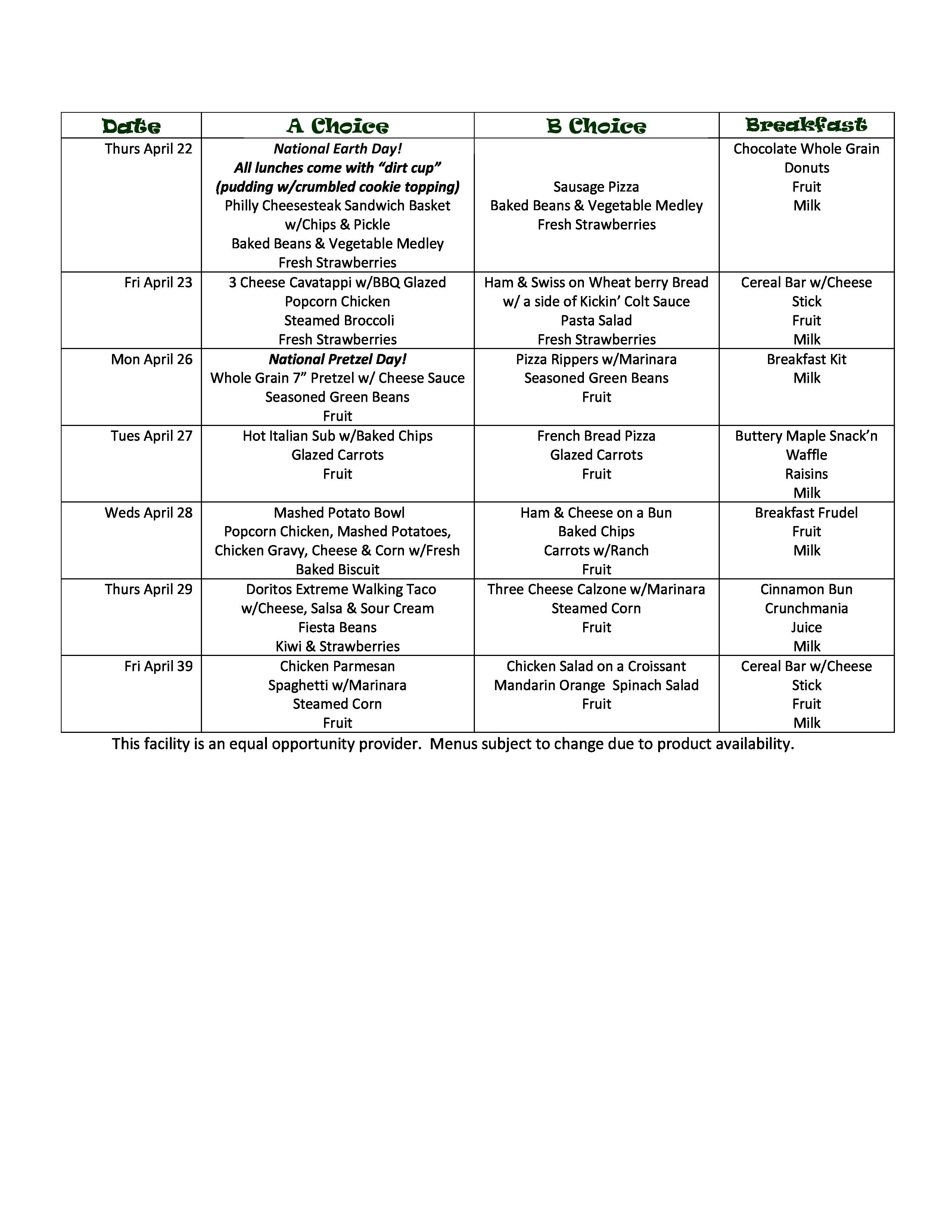 April middle school menu