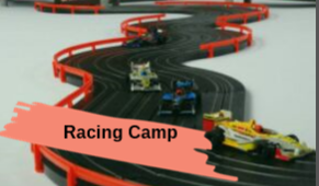 A picture of toy race cars racing on a track.