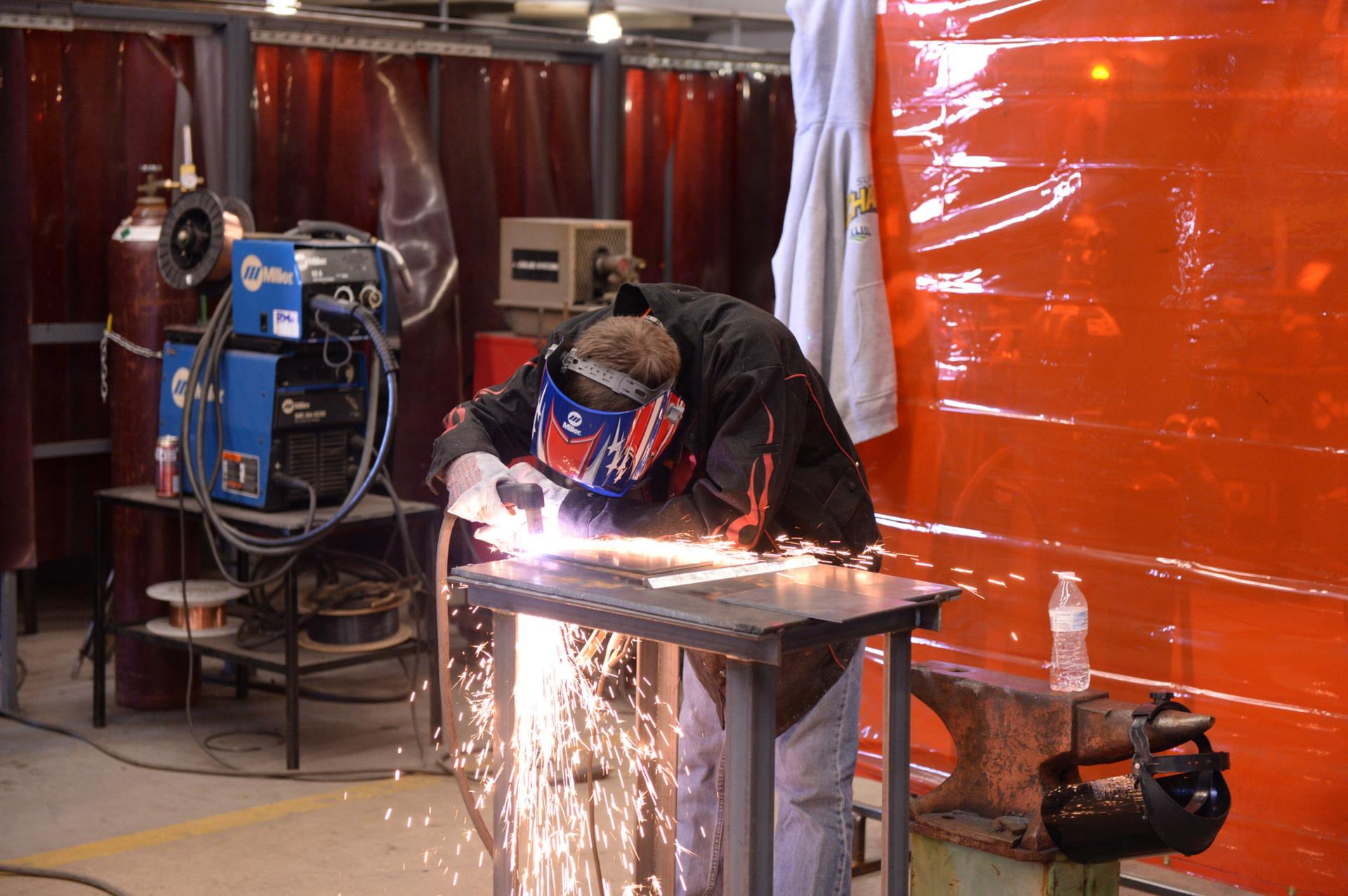 A picture of a student welding