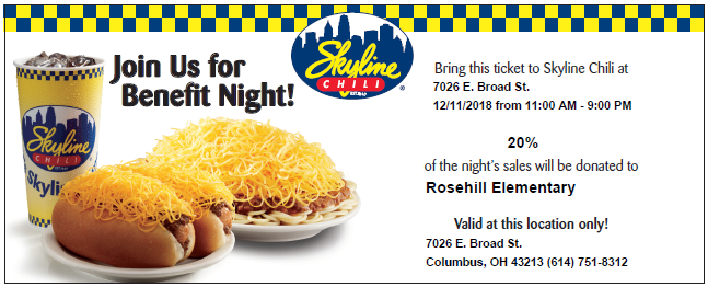 Skyline food picture with text about the fundraiser