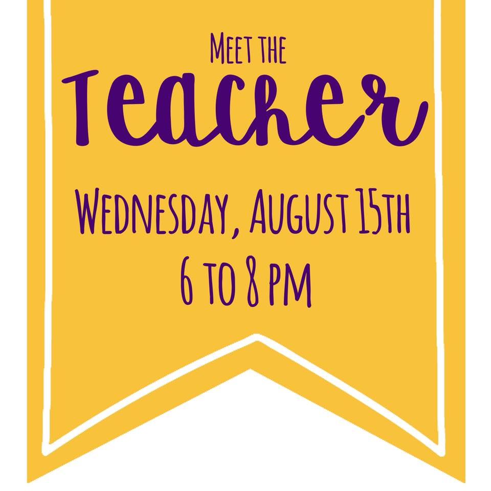 Yellow Banner with purple words for meet the teacher