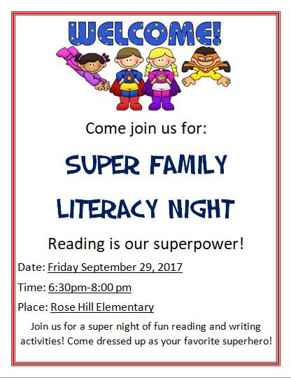 Superhero Literacy Night flyer