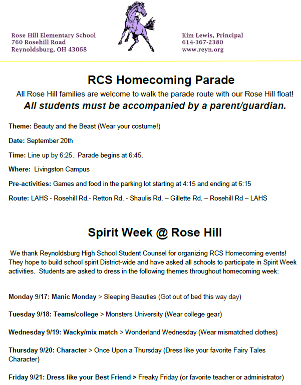 Spirit week text and info