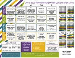 2019-20 Middle-Junior High Lunch Menu