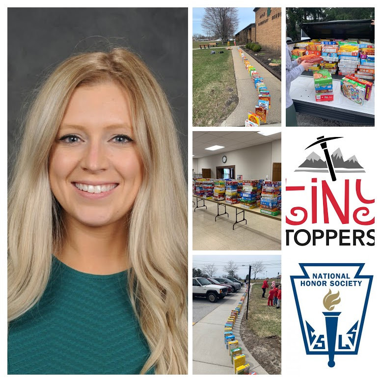 collage photo featuring Tiny Toppers KDG teacher Chloe Ellis [photo credit:  Pastor Photography], photos of cereal boxes lined up on March 26 on school grounds, the Tiny Toppers mountain axe logo, and the National Honor Society logo