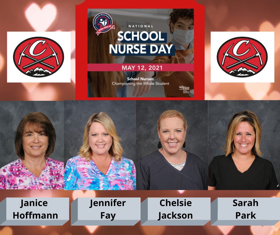 National School Nurse Day logo with date:  May 12, 2021, Championing the Whole Student; Chardon Hilltoppers mountain axe logo; staff photos left to right:  Janice Hoffmann, Jennifer Fay, Chelsie Jackson, Sarah Park [staff photo credit:  Pastor Photography]