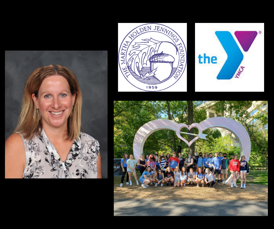 collage graphic:  staff photo of Mrs. Amber Yeager [photo credit:  Pastor Photography]; Martha Holden Jennings Foundation logo; Lake County YMCA logo; and group photo of Chardon High School students (33 students) at the Cleveland Metroparks Zoo on Sept. 17