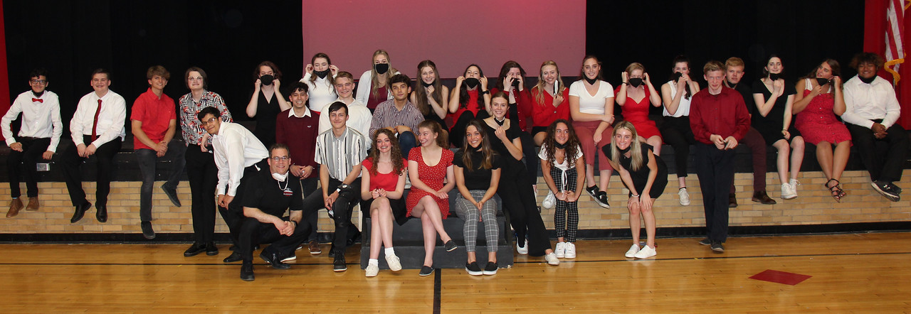 group photo of CHS Chamber Ensemble students and CHS Free Harmony show choir students - photo courtesy of Geauga-TV