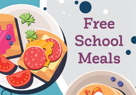stock image:  Free School Meals title featuring a plate of food