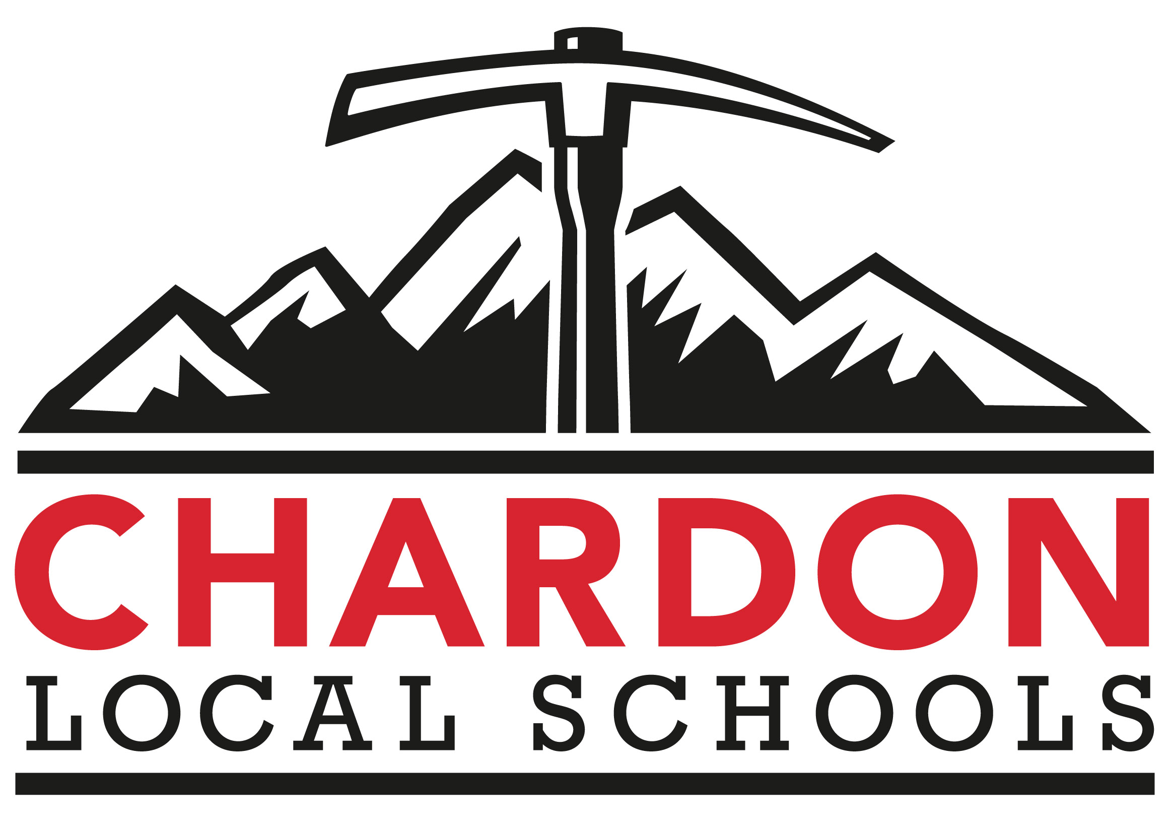 Chardon Local Schools mountain axe logo