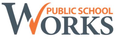 Public School Works logo (orange and grey lettering)