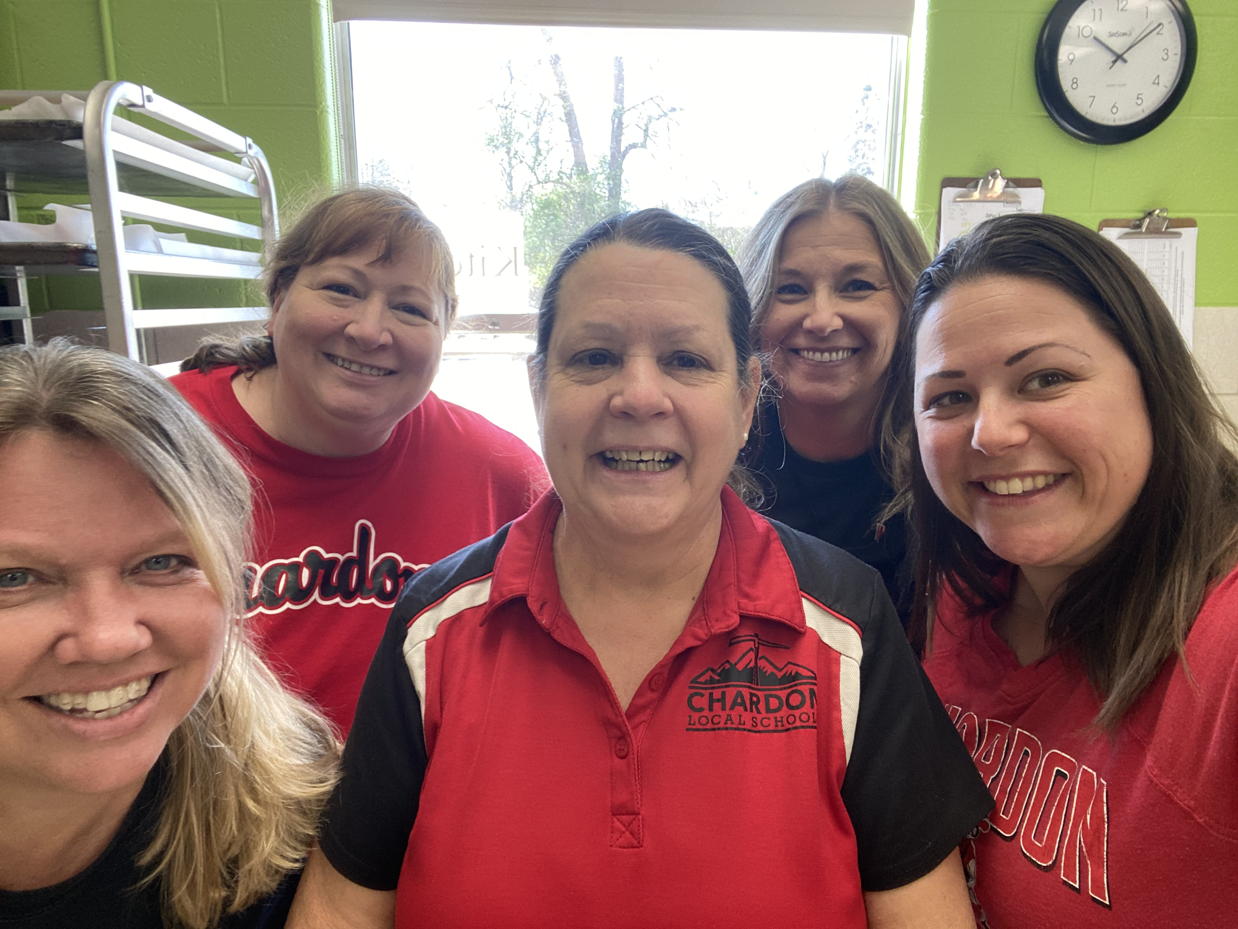 Group photo of 5 smiling Chardon Middle School Food Service staff members