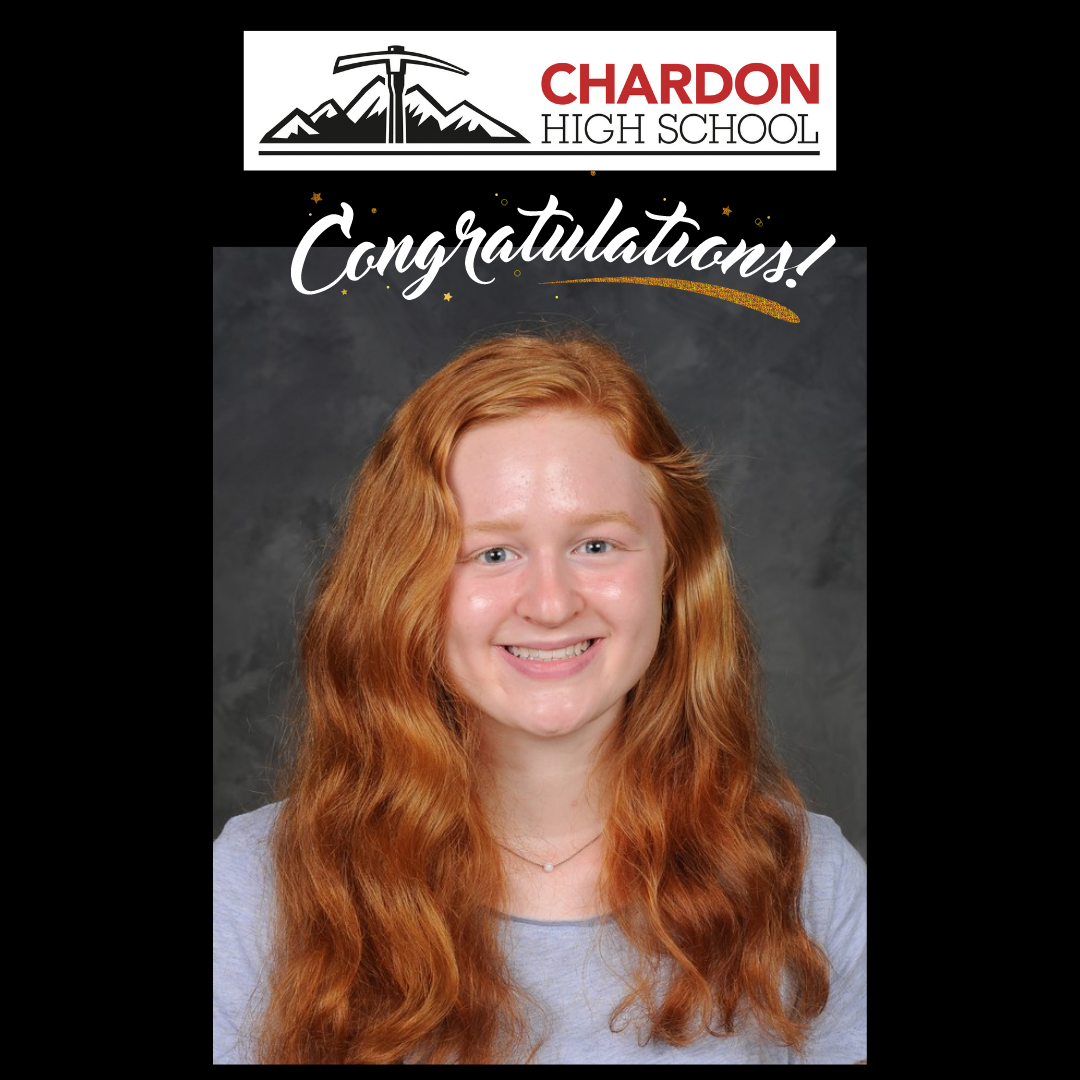 collage featuring Chardon High School mountain axe logo; Congratulations! effects banner; and student photo of Charlotte Bennett, CHS senior [photo credit:  Pastor Photography]