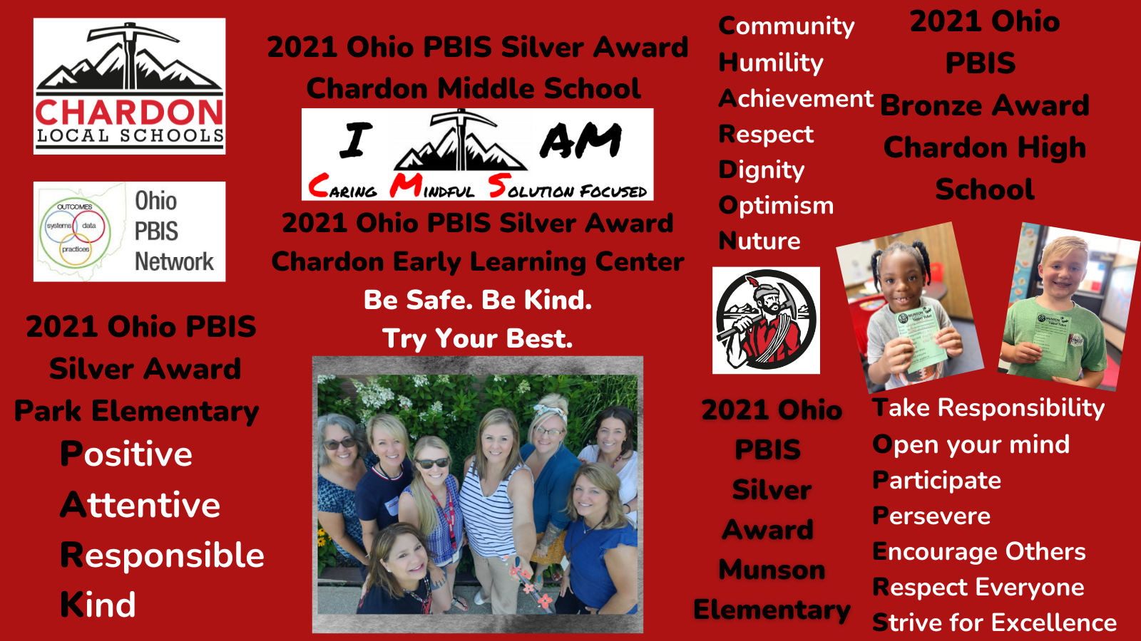 collage graphic:  Chardon Local Schools mountain axe logo; Ohio PBIS Network logo; 2021 Ohio PBIS Silver Award - Park Elementary - acrostic poem:  Positive, Attentive, Responsible, Kind; 2021 Ohio PBIS Silver Award Chardon Middle School:  I am Caring, Mindful and Solution Focused; 2021 Ohio PBIS Silver Award Chardon Early Learning Center:  Be Safe. Be Kind. Try Your Best.; 2021 Ohio PBIS Bronze Award - Chardon High School - acrostic poem:  Community, Humility, Achievement, Respect, Dignity, Optimism, Nuture; Hilltopper logo with mountain axe; 2021 Ohio PBIS Silver Award Munson Elementary - acrostic poem:  Take responsibility, Open your mind, Participate, Persevere, Encourage Ohters, Respect Everyone, Strive for Excellence; 2 photos of Munson Elementary students holding their Topper Ticket awards; group photo of various Chardin Early Learning Center staff - PBIS team
