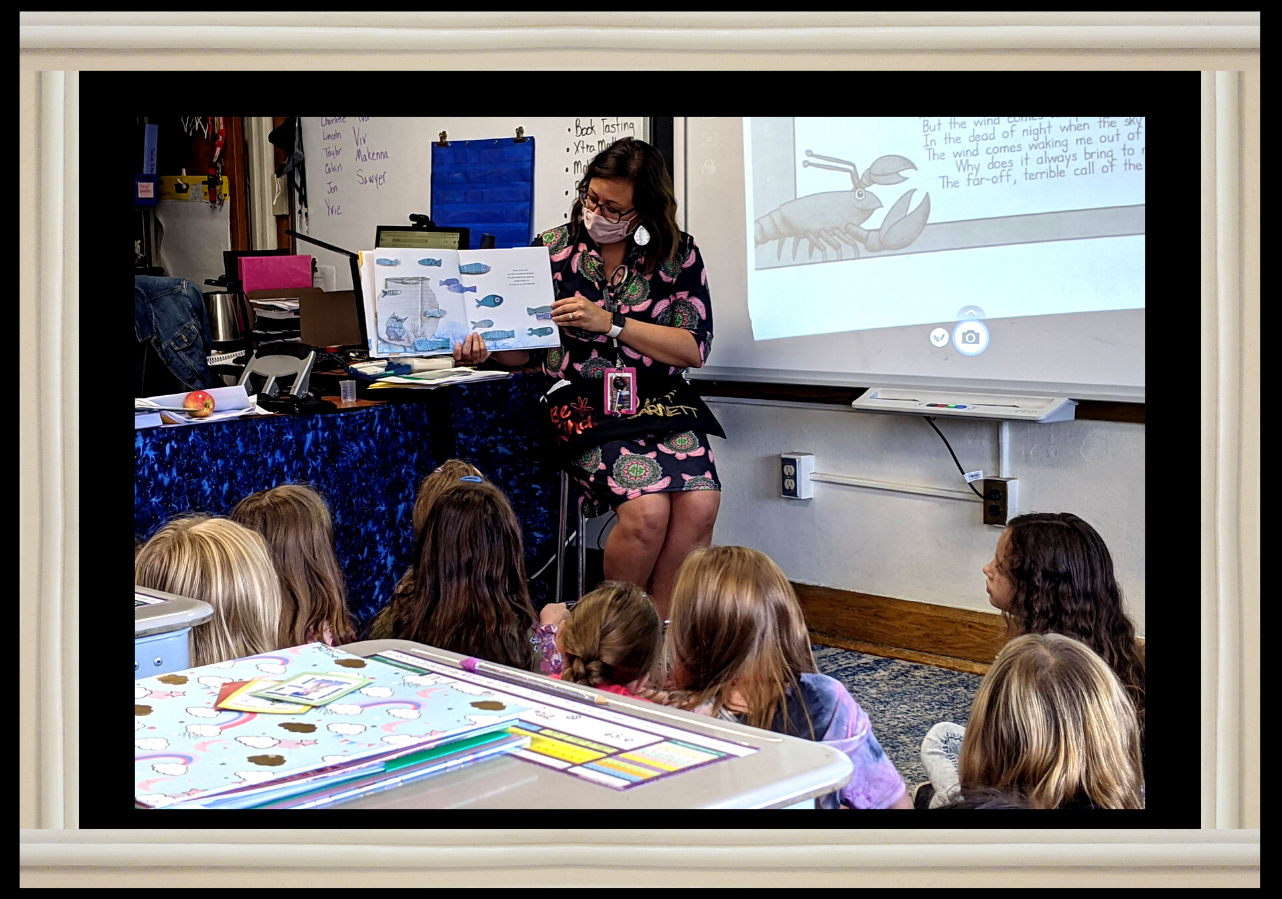 """District elementary school counselor Mrs. Erika Barnett reads Anna Llenas' """"The Color Monster:  A Story About Emotions"""" to a captivated audience of Park Elementary third-grade students in teacher Donna Picone's class on Sept. 9 as an introduction to the Zones of Regulation emotions identification guidance lesson."""