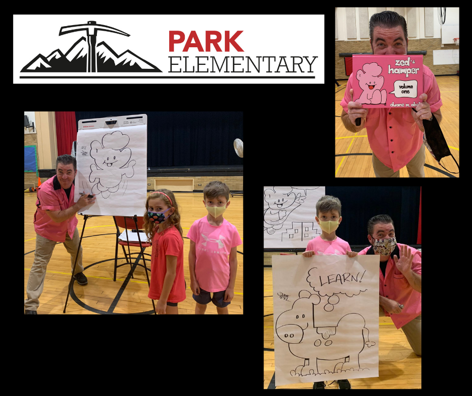 """collage graphic featuring a black background; Park Elementary mountain axe logo (red, white, black); and 3 photos of Mr. Duane Abel, creator of the ZED comic strip, at Park Elementary's auditorium on Sept. 17 for an interactive assembly called """"Draw Your Destiny"""". Two of the photos feature Mr. Abel with a sketchpad on an easel and his drawings and he is standing next to Park Elementary students."""