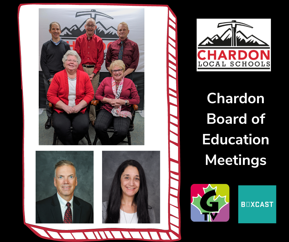 """Click this image to be directed to the Chardon Board of Education MEETINGS Boxcast channel; image features a collage of the 5-member BOE, and photos of Superintendent Hanlon and Treasurer Armbruster; image also features Chardon Local Schools mountain axe logo, G-TV logo, and Boxcast logo, and """"Chardon Board of Education Meetings"""" subheading"""
