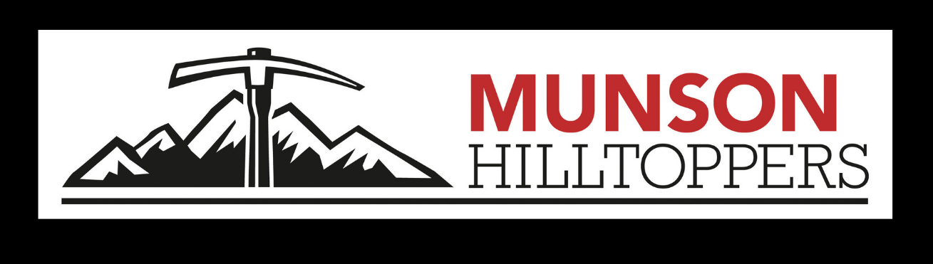 Munson Hilltoppers mountain axe logo - red, black and white with a black border around the white background of the logo
